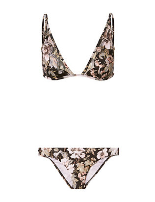 Floral Triangle Mesh Inset Bikini- FINAL SALE