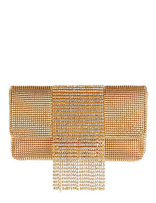 Whiting & Davis Mesh Crystal Fringe Gold Clutch