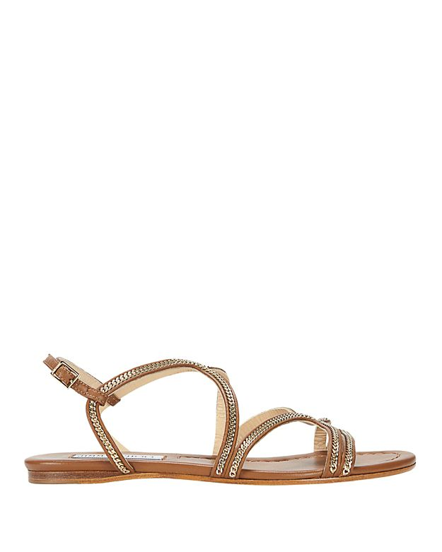 Jimmy Choo Chain Detail Strappy Flat Sandals: Brown