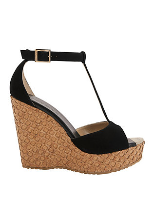 Pela Suede T-Strap Honeycomb Cork Wedge