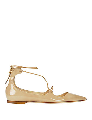 Jimmy Choo Vita Pointy Toe Patent Leather Flat: Nude