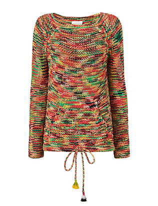 Rainbow Drawstring Hem Knit