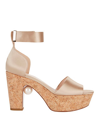 Nicholas Kirkwood Maya Satin Cork Wedge