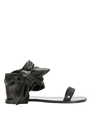 IRO Nilow Leather Ankle Tie Strap Flat Sandal