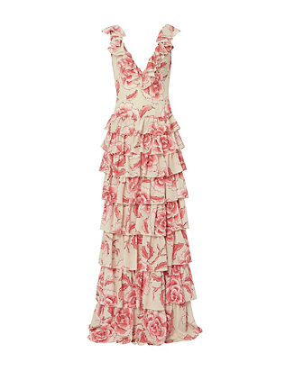Redemption Floral Printed Ruffle Long Dress