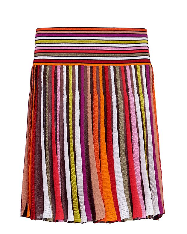 Missoni Pleated Striped Knit Mini Skirt