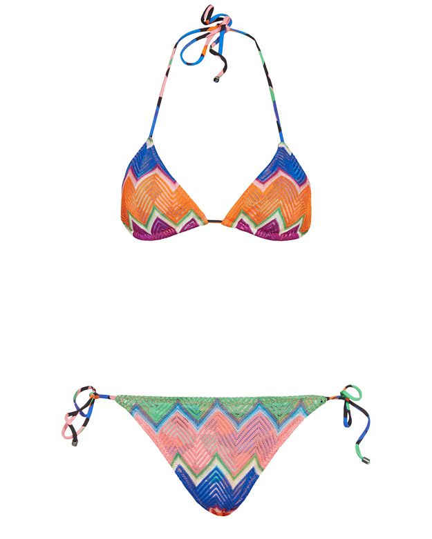 Missoni Mare String Tie Knit Bikini: Orange/Blue