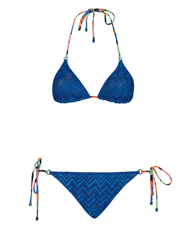 Missoni Mare String Tie Lurex Knit Bikini: Electric Blue
