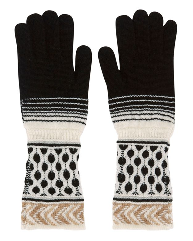 Missoni Knit Gloves: Black/White