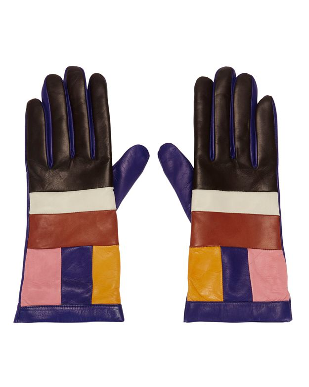 Missoni Colorblock Leather Gloves