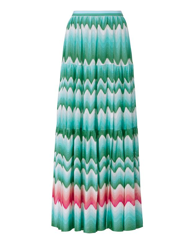 Missoni Mare Slit Knit Maxi Skirt: Green