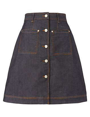 Carven Indigo Denim Skirt