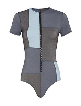 Lisa Marie Fernandez Farrah Denim Patchwork One Piece Swimsuit