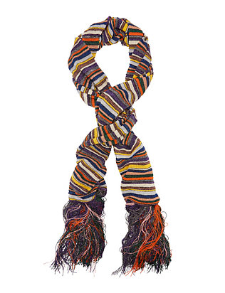 Lurex Stripe Fringe Trim Scarf