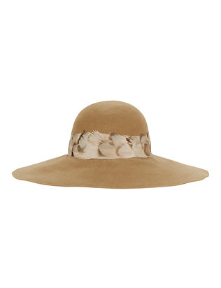 Eugenia Kim Honey Feather Trim Floppy Hat