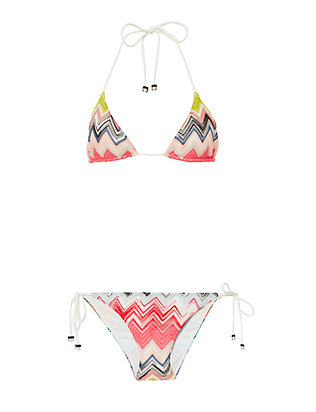 Zig Zag Knit String Tie Triangle Bikini- FINAL SALE