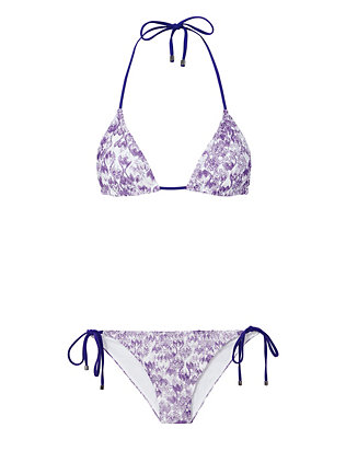 Triangle Purple Knit String Tie Bikini- FINAL SALE