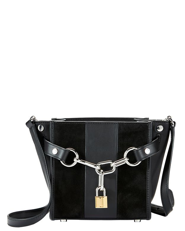 Alexander Wang Attica Small Suede Satchel: Black