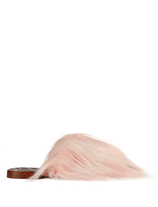 Faux Fur Slide Sandals: Pink