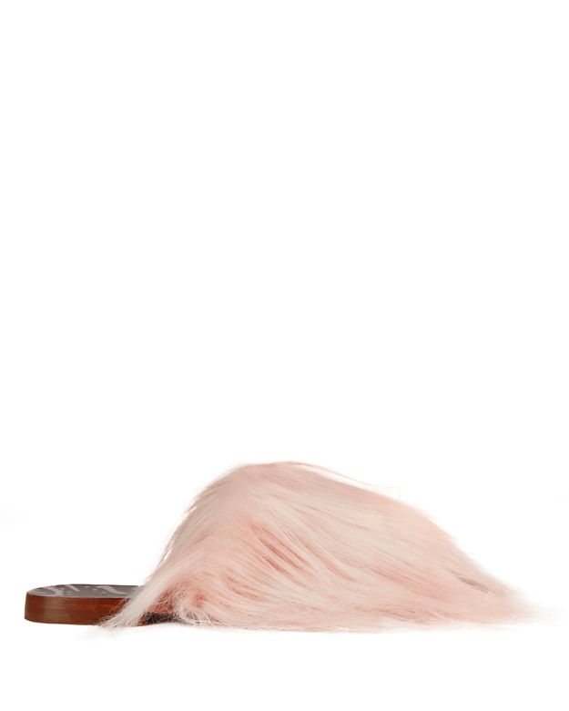 Avec Moderation Faux Fur Slide Sandals: Pink