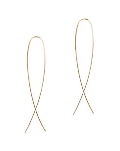 Lana Jewelry Narrow Flat Upside Down Hoop Earrings