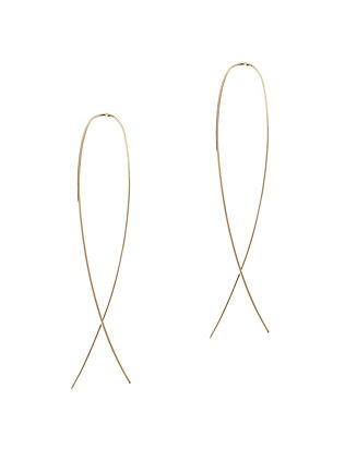 Narrow Flat Upside Down Hoop Earrings