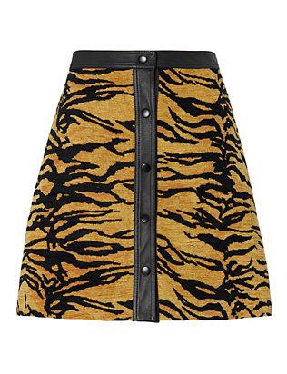Tiger Print A-Line Skirt