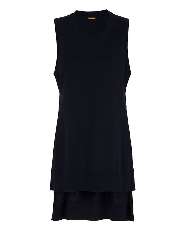 Adam Lippes Side Slit Tunic: Navy
