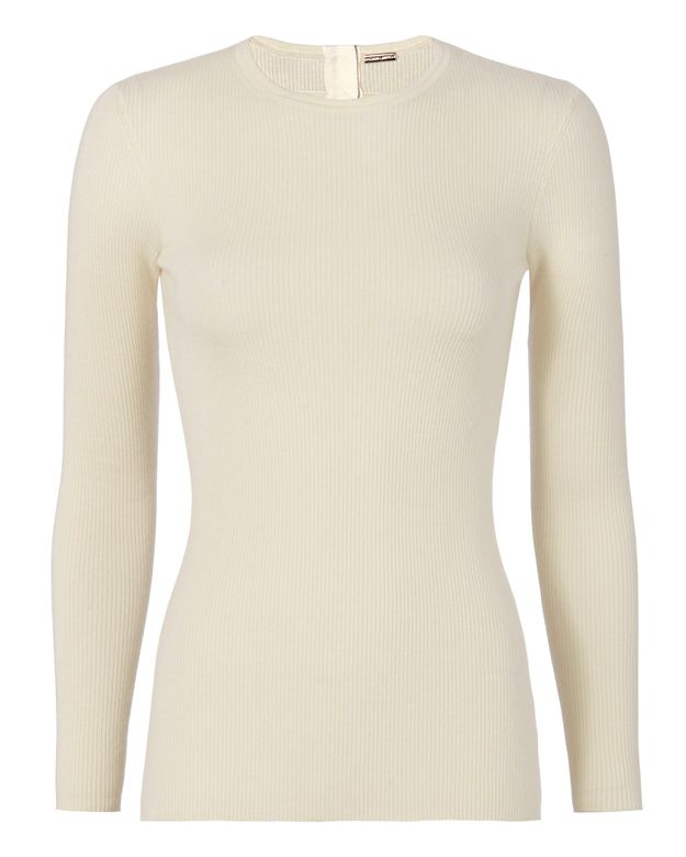 Adam Lippes Open Back Crewneck Ribbed Knit