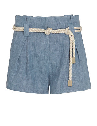 L'Agence EXCLUSIVE Denim Paperbag Waist Short