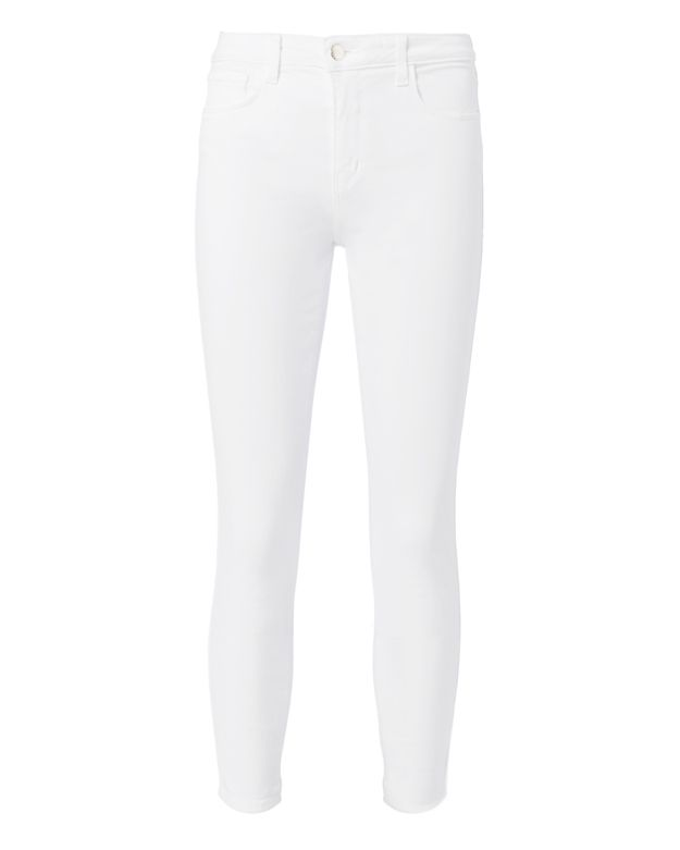 L'Agence Margot White High-Rise Ankle Skinny Jeans