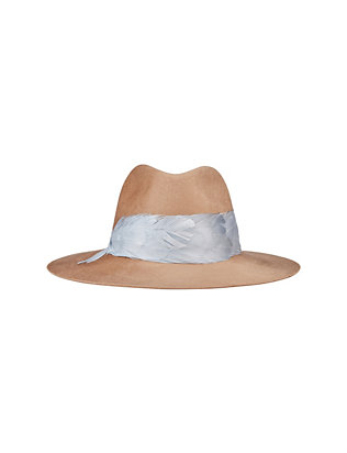 Eugenia Kim Georgina Feather Trim Fedora: Camel