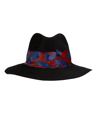 Eugenia Kim Georgina Feather Trim Fedora: Black
