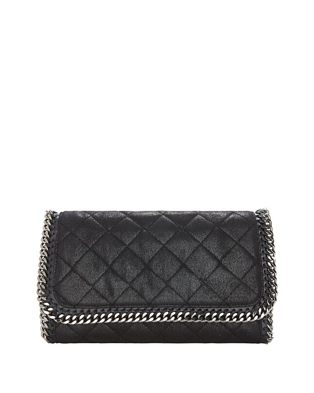 Stella McCartney Shaggy Deer Flap Clutch: Black