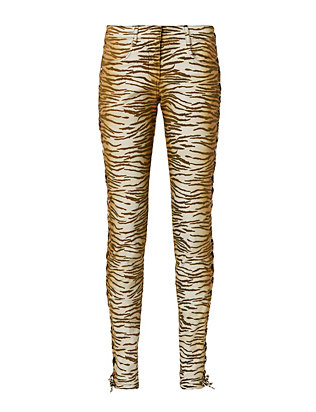 A.L.C. Tigre Print Lace-Up Side Skinny Jeans