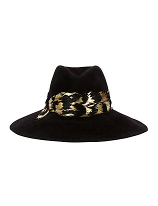 Emmanuelle Metallic Feather Trim Hat