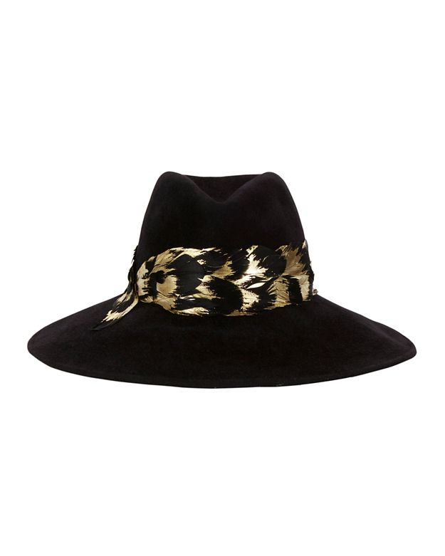 Eugenia Kim Emmanuelle Metallic Feather Trim Hat