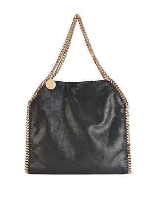 Large Falabella Shaggy Deer Tote: Black