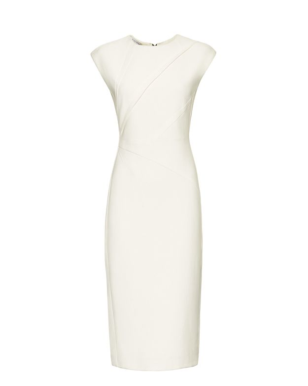 Narciso Rodriguez Extended Shoulder Angle Seam Dress: White