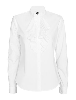 NSF EXCLUSIVE Ruffled Shirt: White