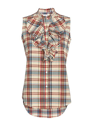 NSF EXCLUSIVE Plaid Ruffle Sleeveless Shirt