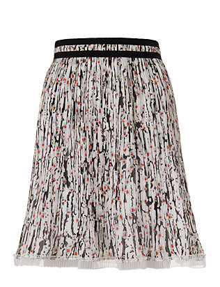 Carven Georgette Print Pleated Skirt