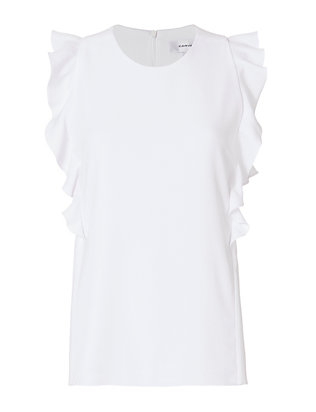 Carven Sleeveless Ruffle Belt Back Blouse