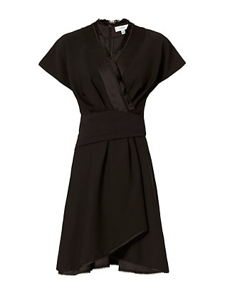 Carven Fringe Trim Wrap Dress