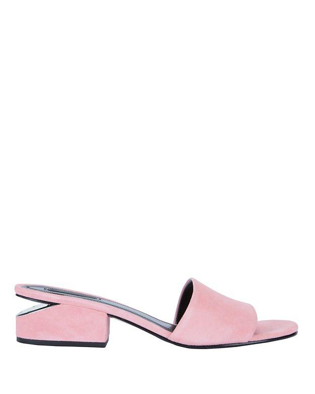 Alexander Wang Suedes Lou Pink Suede Slide Sandals