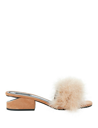 Alexander Wang Lou Marabou Feather Slide Sandals