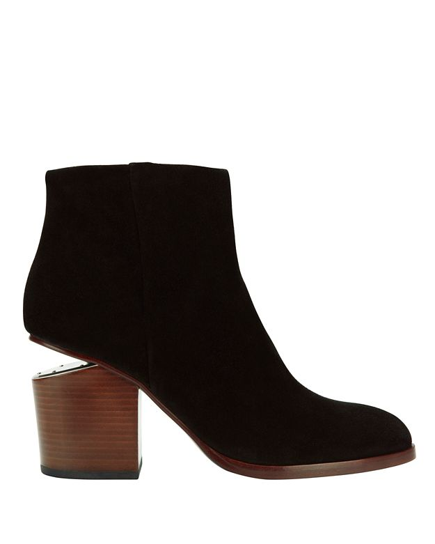 Alexander Wang Gabi Cut Out Stack Heel Suede Bootie: Black