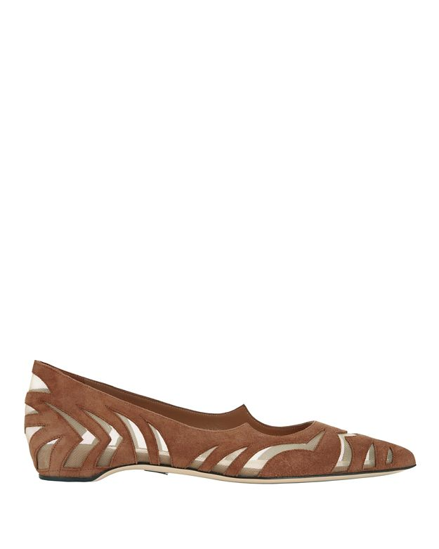 Paul Andrew Zoyra Cut Out Mesh Pointy Toe Suede Flat