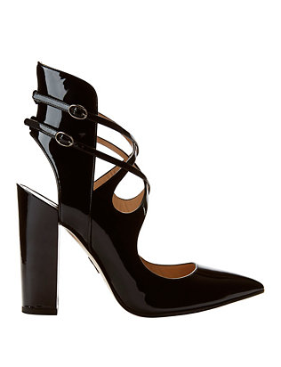Sevil Strappy Open Back Patent Leather Pumps