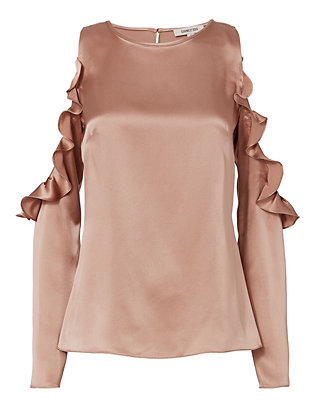 Cushnie Et Ochs Dune Silk Open Shoulder Blouse